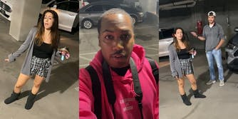 "woman in parking garage (l) man with ""Everybody VS Racism"" hoodie (c) couple gesturing (r)"
