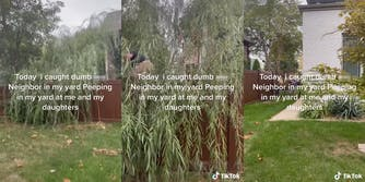 """man climbing over fence behind tree branches with caption """"Today i caught dumb ass neighbor in my yard peeping in my yard at me and my daughters"""""""