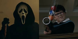 two-side panel of ghostface in scream (left) and archie yates in home sweet home alone (right)