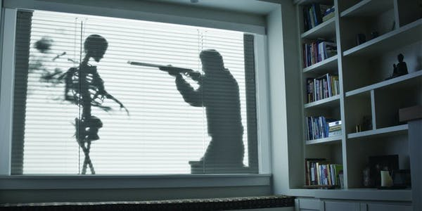 Man shooting skeleton from Shades of Evil AtmosFX DVD projected onto window blinds