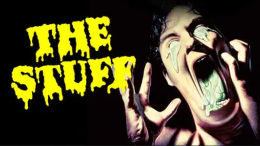 The Stuff movie poster, evil goo exploding out of a person's head