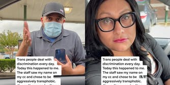 sonic worker (l) harassing trans woman in driver's seat (r)