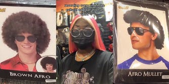 """white man with """"Brown Afro"""" wig (l) young woman in mask with caption """"recording every time i see cultural appropriation at spirit"""" (c) white man in """"Afro Mullet"""" wig (r)"""