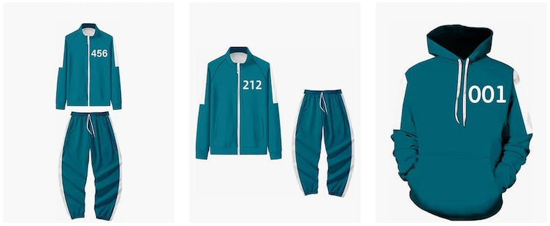 Best group Halloween costumes - Squid Game costumes featuring turquoise jumpsuits with numbers on them