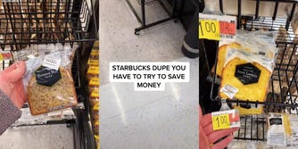 """banana nut cake bread (l) store floor with caption """"Starbucks dupe you have to try to save money"""" (c) hand holding $1 tag near Iced Lemon cake (r)"""