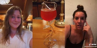 person in bar (l) glass shaped like a flower (c) woman in front of brick wall (r)