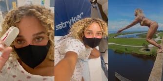 salah brooks in the hospital after diving accident that gave her a 'third hole', salah brooks diving