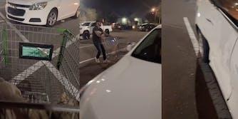 man seemingly pushing chopping cart into woman's car