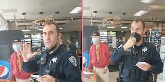 A cop looking into camera.