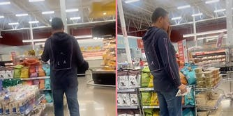 A man wearing a hoodie in a grocery store.