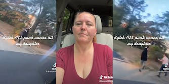 """two young men walking on sidewalk with caption """"Bytch A$$ punks wanna hit my daughter"""" (l) woman in car seat (c) woman chasing young man on sidewalk"""