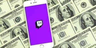 Twitch app on phone over $100 bills