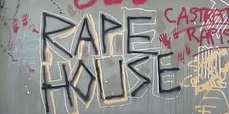 A USC Frat house is covered in graffiti after allegations of sexual assault and drugging.