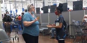 Woman at Walmart talking to manager