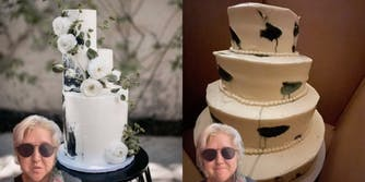Woman with fancy wedding cake (l) woman with inelegant wedding cake (r)