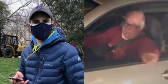 Zachary Petrizzo holding phone (l) man pointing out driver's side window of car (R)