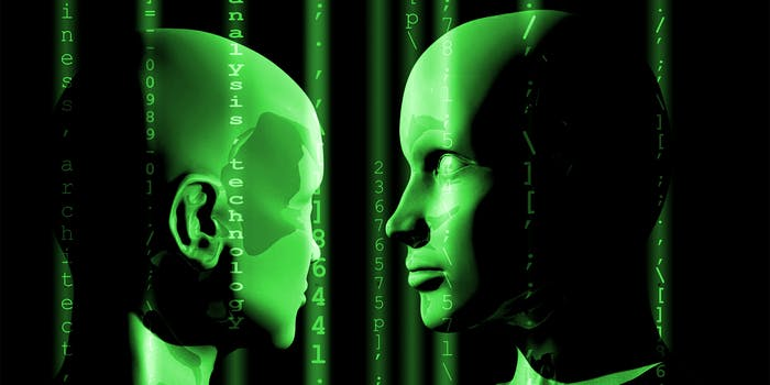 Two 3D model heads examining one another