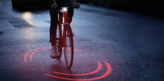 Michelin Bikeosphere projecting light on pavement