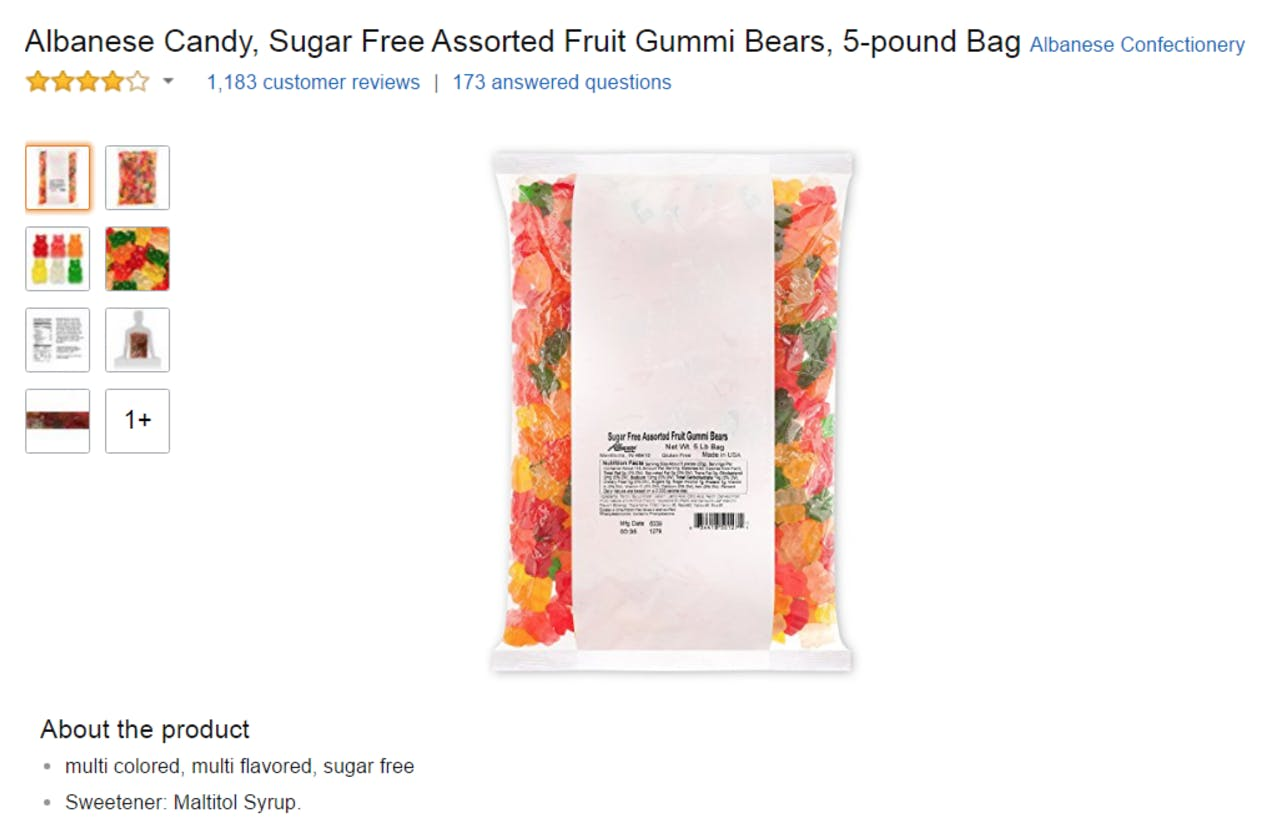 Funniest Amazon Reviews : Albanese Candy, Sugar Free Assorted Fruit Gummi Bears, 5-pound Bag