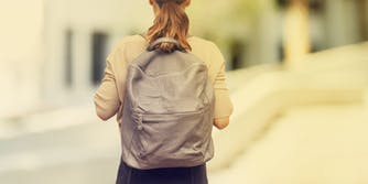 student, girl, backpack, campus, school
