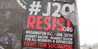 Flyer for #J20 resist.org on light pole