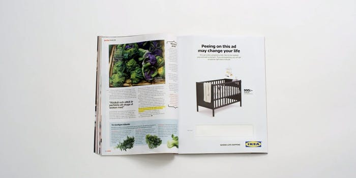 A new pregnancy ad from IKEA asks customers to pee on the advertisement.