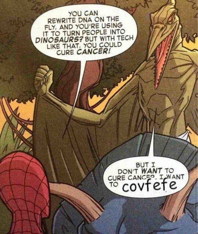 trump covfefe meme marvel comics spider-man sauron