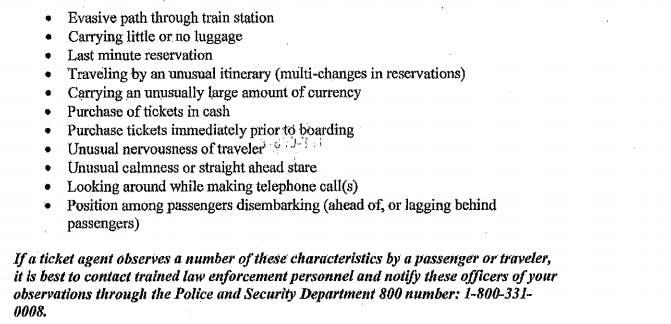 Amtrak 'suspicious' list