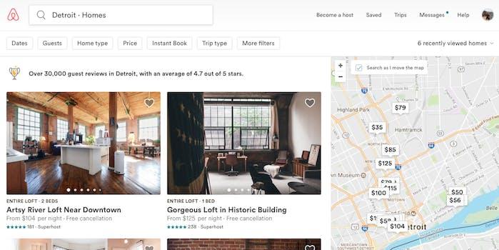 Detroit Airbnbs Screengrab