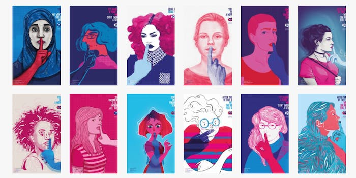 Illustrations of women making the Shh sign