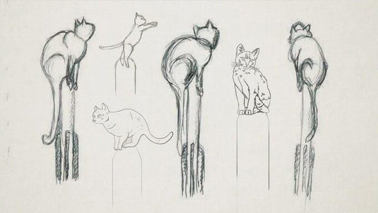 Cat rocket statue sketches