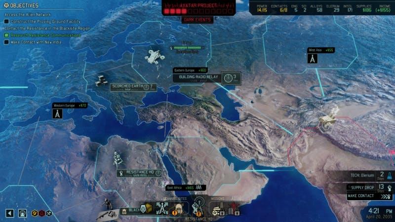 XCOM 2's strategic map, the Geoscape