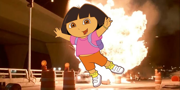Dora the Explorer leaps away from explosion