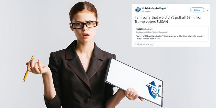 Pollster with a clipboard shrugging her shoulders