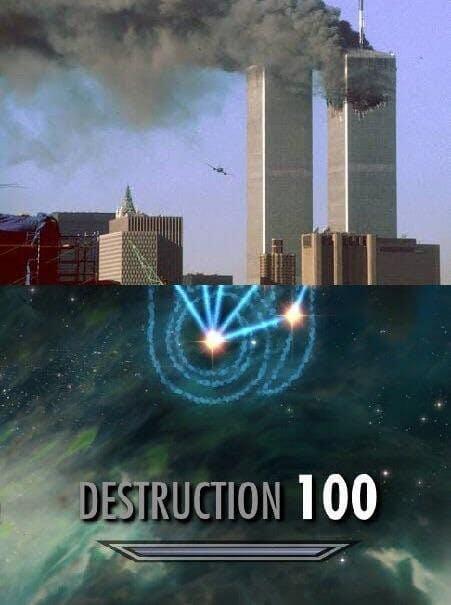 9/11 skyrim destruction meme