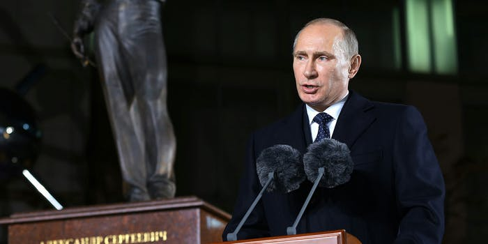 Vladimir Putin speaking a a podium. Russia's hacking efforts ahead of the 2016 election went well beyond Hillary Clinton's campaign and the Democratic National Committee, according to a trove of documents obtained by the Associated Press.