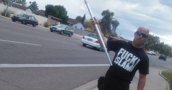 Jon Ritzheimer at an anti-Muslim protest in Phoenix, Az.