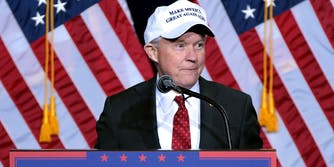 Jeff Sessions Wearing a Make America Great Again Hat