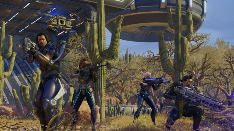 A squad of XCOM soldiers disembark from a Skyranger transport.