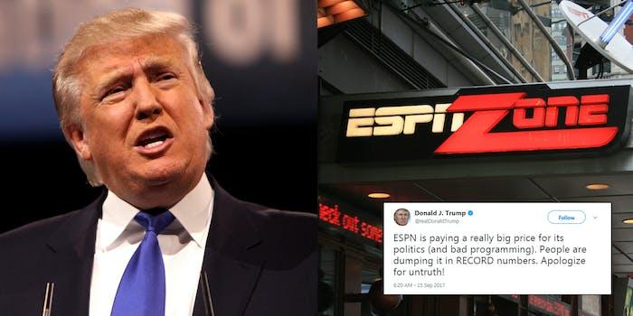 Donald Trump slammed ESPN in a Friday morning tweet.