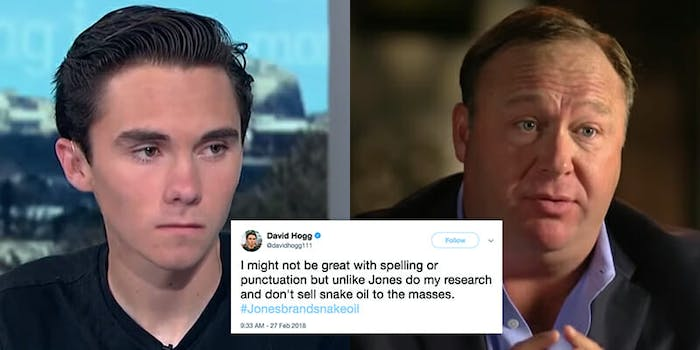 Down to one strike before being banned from YouTube, Alex Hogg implored David Hogg to 'set the record straight' on his show.