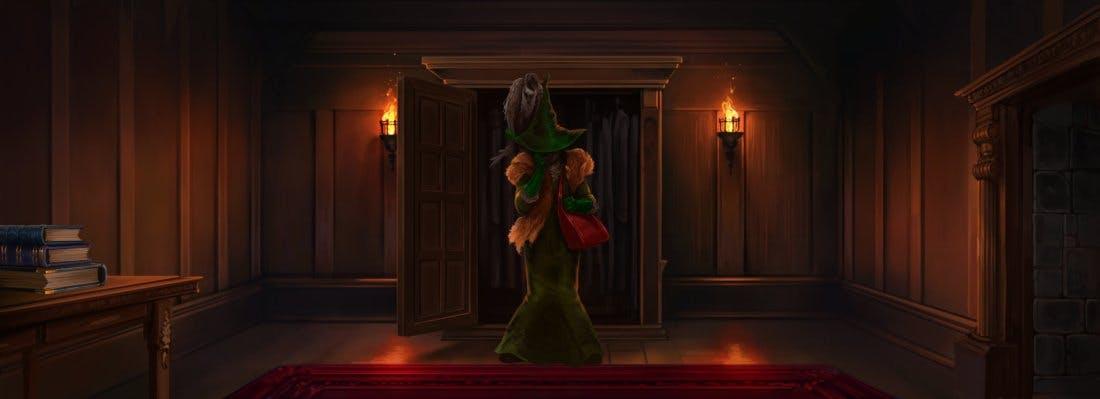 Neville's boggart as Snape in drag