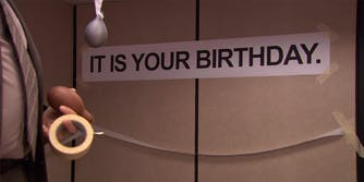 """Dwight from """"The Office"""" puts up """"It is your birthday."""" sign in break room"""