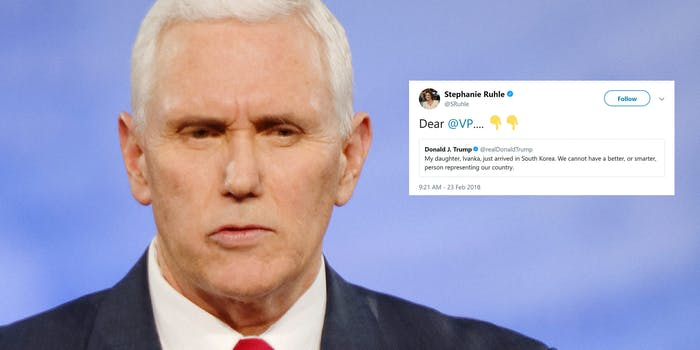 """Mike Pence with Donald Trump tweet that reads, """"My daughter Ivanka, just arrivede in South Korea. We cannot have a better, or smarter, person representing our country""""."""