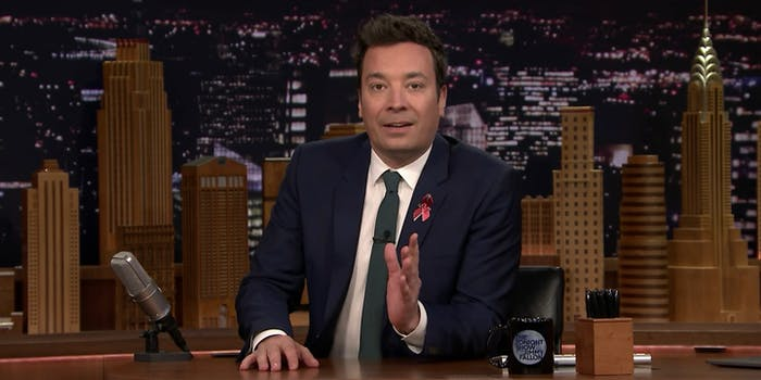 Jimmy Fallon makes emotional pledge to join students in march for gun control