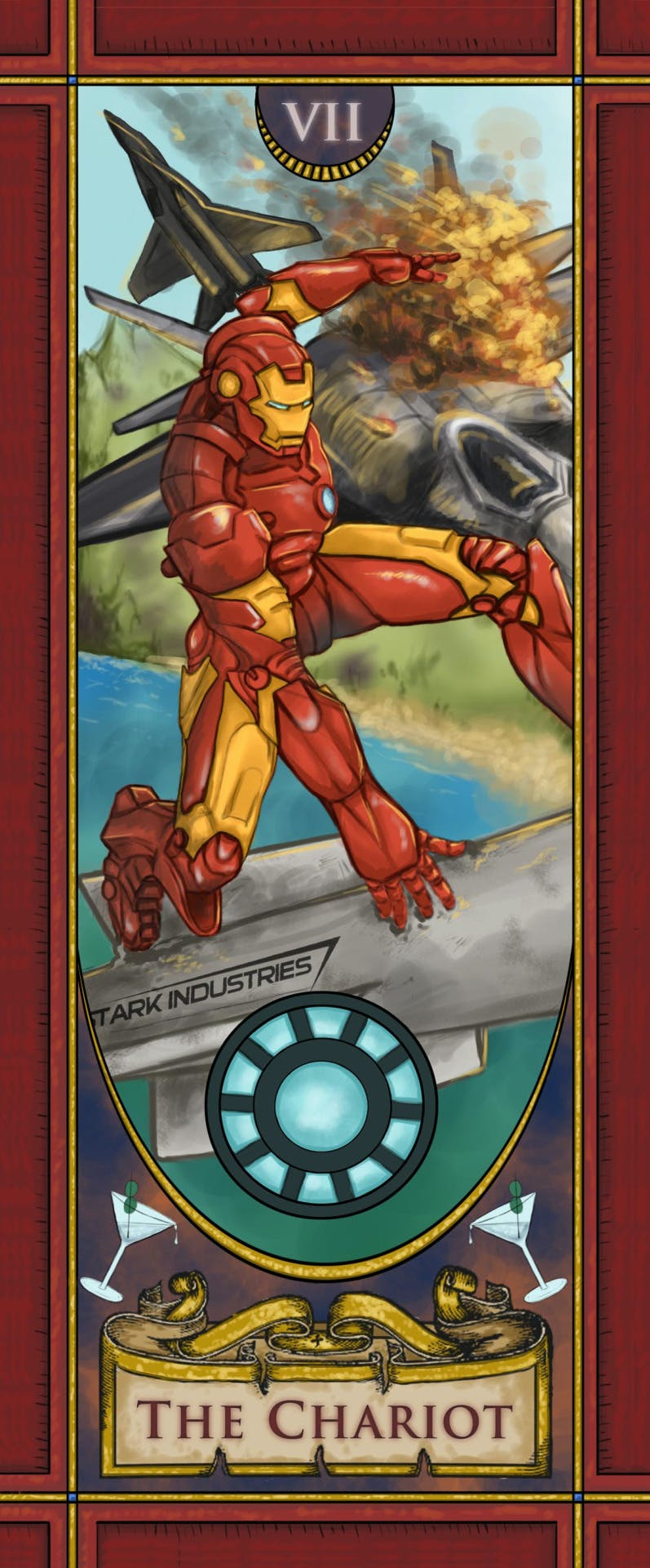 Tony Stark riding a Stark Industries warhead represents the Major Arcana card the Chariot.