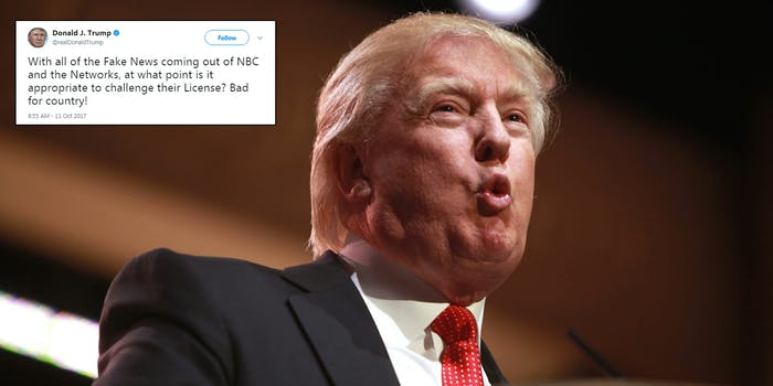 Donald Trump suggested that NBC News' license be challenged for a recent report.