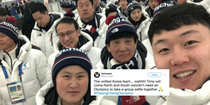 North and South Korean athletes took a selfie together at the Winter Olympics.