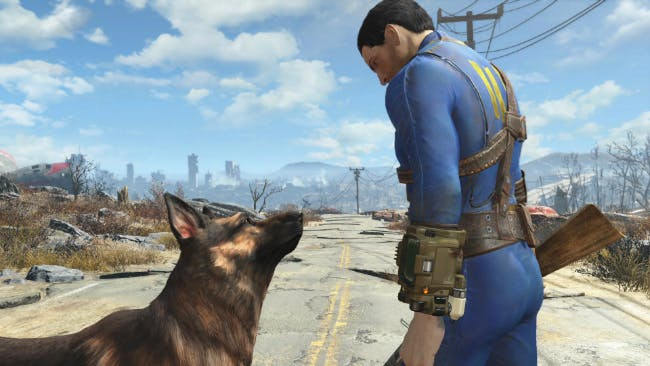 Fallout VR: Like this, only Dogmeat is so close you feel like you could reach out and cuddle him. (Image from Fallout 4.)