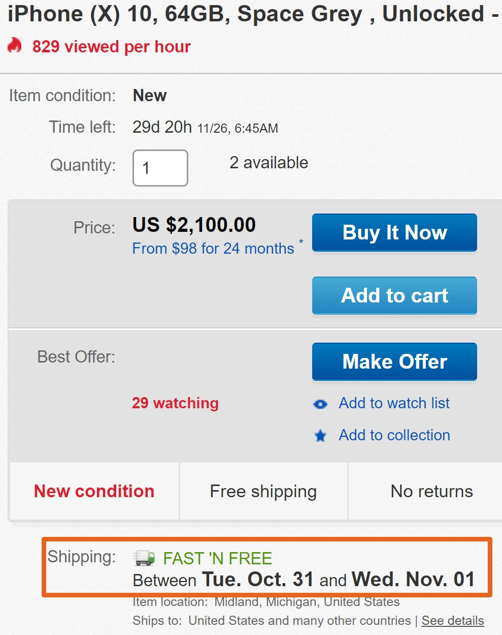 apple iphone x ebay ship date